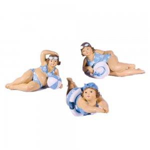Φιγούρα κολυμβήτριας ρετρό σε απόχρωση λευκό και γαλάζιο