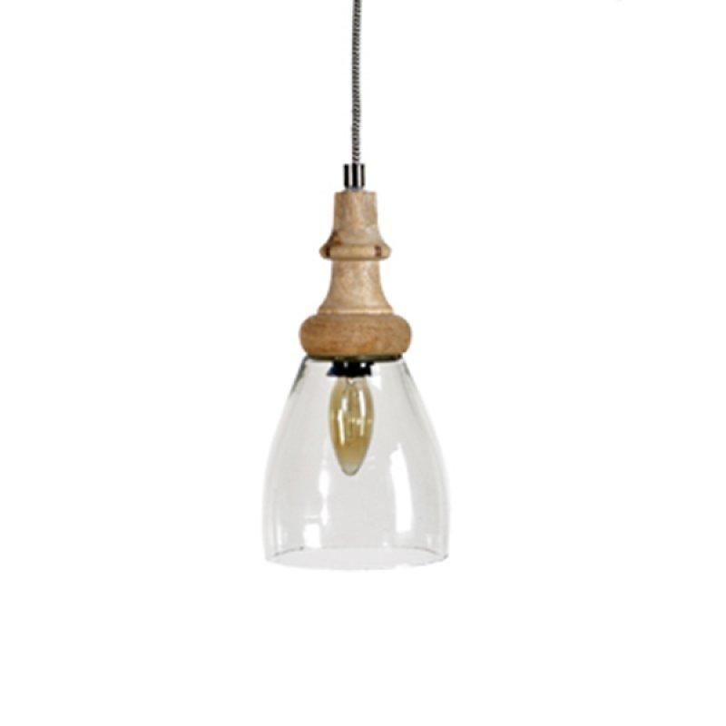 Φωτιστικό οροφής natural από γυαλί και ξύλο 14x14x28 εκ