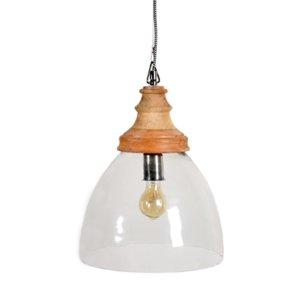 Φωτιστικό οροφής στρογγυλό από γυαλί και ξύλο  31x31x41 εκ