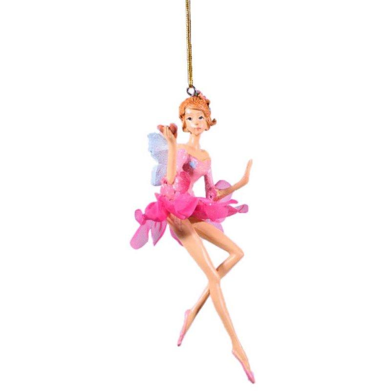 Κρεμαστή φιγούρα μπαλαρίνας νεράιδας με φτερά σε ροζ απόχρωση σετ των δύο τεμαχίων