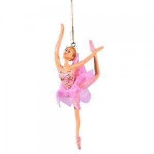 Κρεμαστό στολίδι μπαλαρίνας με ροζ κορμάκι σετ των δύο
