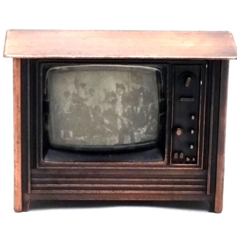 Ξύστρα μινιατούρα τηλεόραση σε μπρονζέ χρώμα 6cm