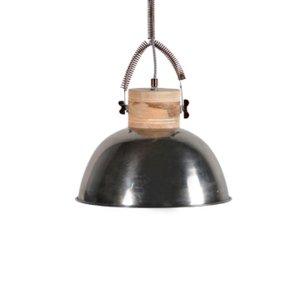 Vintage Φωτιστικό οροφής στρογγυλό από μέταλλο και ξύλο