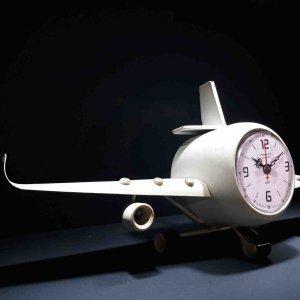 Μεταλλικό ρολόι αεροπλάνο σε λευκό χρώμα 41x8x17 εκ