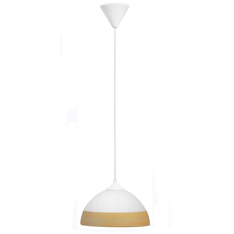 Γυάλινο φωτιστικό οροφής λευκό με σομόν ρίγα