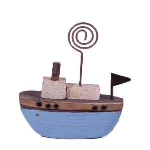 Γαλάζιο διακοσμητικό ξύλινο καραβάκι 8x3x9 εκ