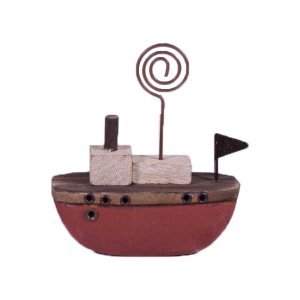 Διακοσμητικό ξύλινο καραβάκι σε κόκκινο χρώμα 8x3x9 ε&kappa
