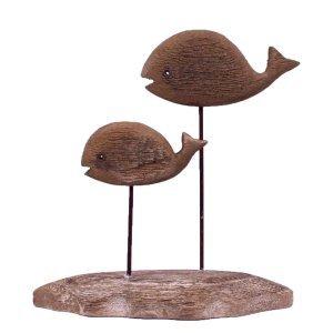 Επιτραπέζιο διακοσμητικό από ξύλο και μέταλλο με φά