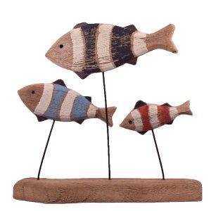 Επιτραπέζιο διακοσμητικό με ξύλινα ψάρια σε βάση 27x5x24 &epsi