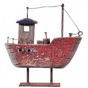 Ξύλινο διακοσμητικό κόκκινο καραβάκι με μεταλλι