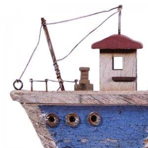 Διακοσμητικό ξύλινο καραβάκι σε γαλάζια απόχρωση 1