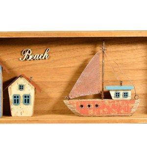 Ξύλινο καδράκι τοίχου 3D beach 40x16x5εκ