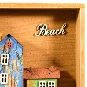 Kαδράκι τοίχου 3D ξύλινο τετράγωνο beach 18x18x5εκ