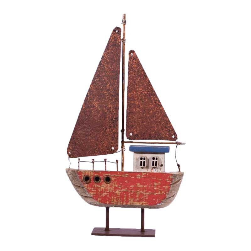 Vintage ξύλινο καραβάκι με μεταλλικά πανιά 14x3x23 εκ