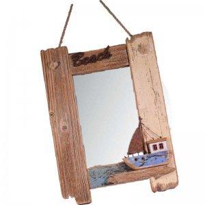 Διακοσμητικός ξύλινος καθρέπτης Beach με καραβάκι 29x4x40 ε