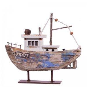 Ψαροκάικο ξύλινο διακοσμητικό με γαλάζιο σκαρί 14x3x1