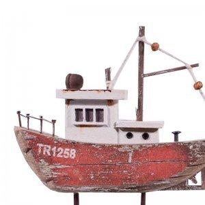 Ψαροκάικο ξύλινο διακοσμητικό με κόκκινο σκαρί 14x3x14 &