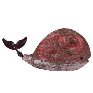 Κόκκινη διακοσμητική φάλαινα από ξύλο 13x5x7 εκ