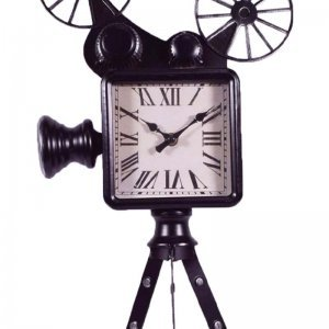 Μεταλλικό vintage ρολόι κινηματογραφική κάμερα σε μαύρ&omicro