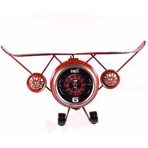 Επιτραπέζιο ρολόι αεροπλάνο σε κόκκινο χρώμα 39x13x22 ε&kapp