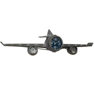 Ρολόι τοίχου αεροπλάνο μεταλλικό 102x22x26 εκ