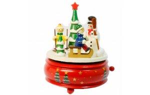 Μουσικό κουτί χιονάνθρωπος με κόκκινη βάση 15x12 εκ