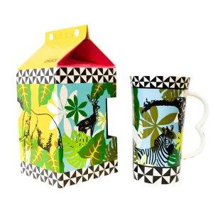 Πορσελάνινη κούπα καφέ με εξωτικά ζώα-ζέβρα