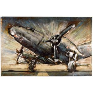Μεταλλικός διακοσμητικός πίνακας 3D αεροπλάνο 60x40x4&epsi