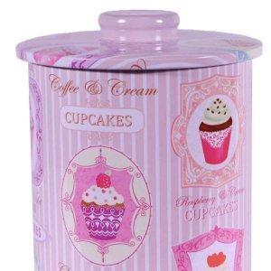 Cupcakes ρετρό μεταλλικό κουτί αποθήκευσης 14x14x17 εκ