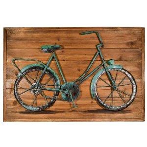 Vintage ξύλινος πίνακας με 3D ποδήλατο 60x40x4εκ