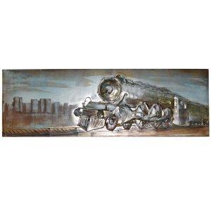 Τρένο 3D Vintage μεταλλικός διακοσμητικός πίνακας 90x30x3εκ