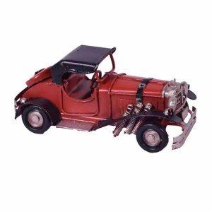 Διακοσμητική μινιατούρα αυτοκινήτου αντίκα σε κόκκινο χρώμα 11x4x5 εκ
