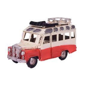 Διακοσμητικό vintage λεωφορείο βανάκι σε κόκκινη απόχρωση 11x4x6 εκ