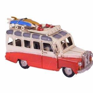 Vintage διακοσμητικό μεταλλικό λεωφορείο βανάκι σε κόκκινη απόχρωση με σανίδες surf 17x7x9 εκ