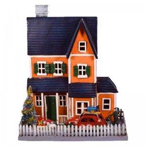 Χριστουγεννιάτικο διακοσμητικό σπιτάκι με αυλή από μέταλλο 27x12x32 εκ