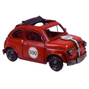 Vintage μεταλλικό διακοσμητικό fiat 500 σε κόκκινο χρώμα 27x13x13 εκ
