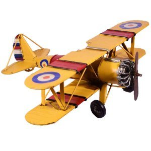 Κίτρινο μεταλλικό διακοσμητικό αεροπλάνο 45x37x14 εκ
