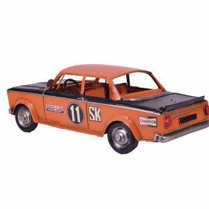 Διακοσμητικό vintage αγωνιστικό αυτοκίνητο σε πορτοκαλί απόχρωση με μαύρες λεπτομέρειες 28x12x10 εκ