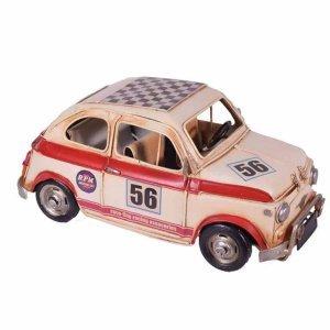 Vintage λευκό με κόκκινο διακοσμητικό αυτοκίνητο μινιατούρα Fiat 500 27x13x12 εκ