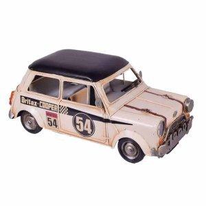Διακοσμητική vintage μινιατούρα αυτοκινήτου Mini Cooper σε λευκή απόχρωση με μαύρες λεπτομέρειες 28x14x12 εκ