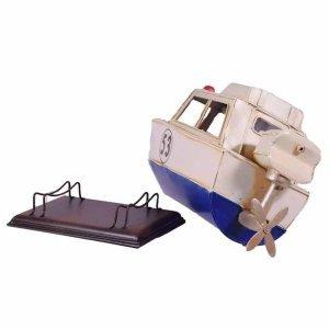 Vintage μεταλλικό ταχύπλοο σε λευκή παλαιωμένη απόχρωση 27x10x14 εκ