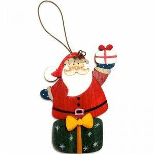 Αη Βασίλης ξύλινο στολίδι Χριστουγεννιάτικο σετ δύο τεμαχίων 8x13 εκ