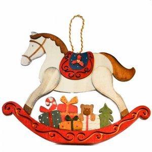 Άλογο ξύλινο κρεμαστό με δώρα 26x1x22εκ