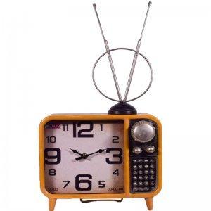 Διακοσμητικό επιτραπέζιο ρολόι vintage τηλεόραση σε κίτρινο χρώμα 25x11x48 εκ