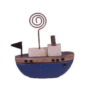 Διακοσμητικό ξύλινο καραβάκι σε μπλε χρώμα 8x3x9 εκ