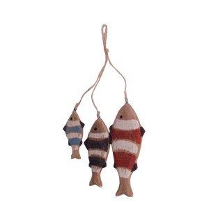 Διακοσμητικά πολύχρωμα ξύλινα κρεμαστά ψάρια 35 εκ