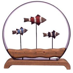 Διακοσμητικό επιτραπέζιο με ξύλινα ψαράκια από ξύλο