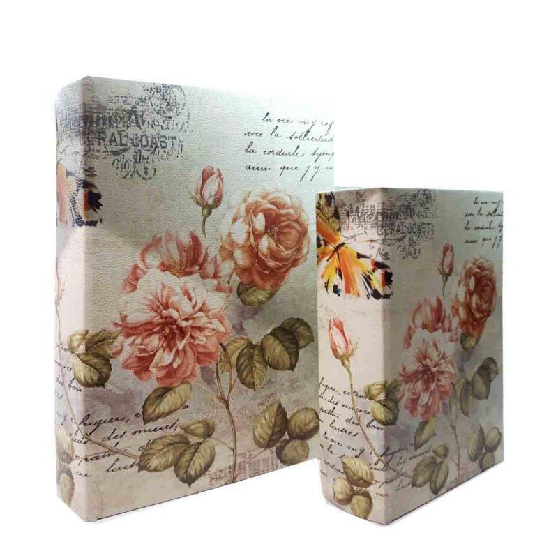 Διακοσμητικό κουτί με τριαντάφυλλα σε σχήμα βιβλίου σετ των δύο 19x7x27 εκ