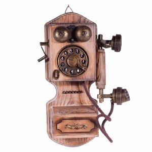 Διακοσμητικό ξύλινο vintage τηλέφωνο τοίχου 17x9x30 εκ