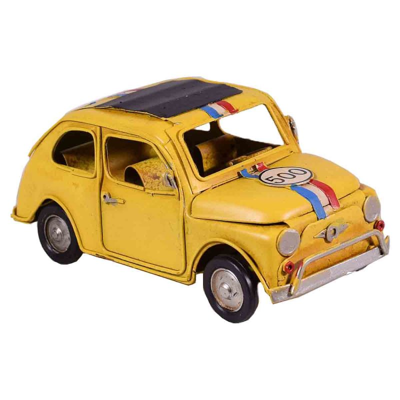 Διακοσμητικό ρετρό αυτοκίνητο σε κίτρινο χρώμα 16x8x7 εκ